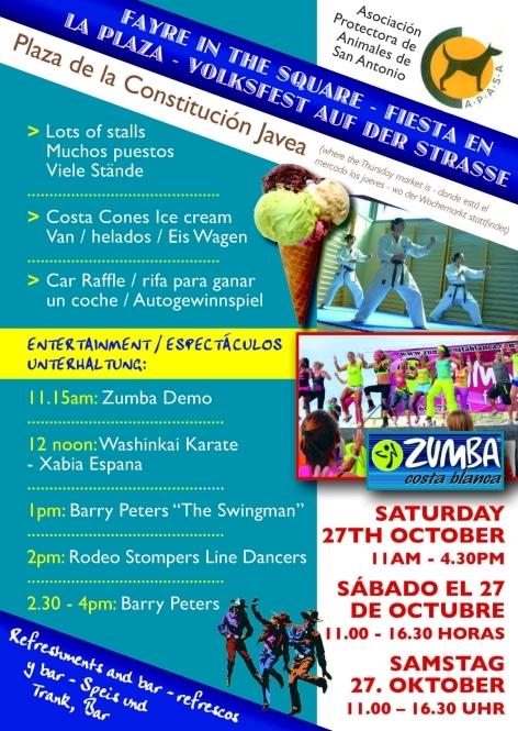 Fiesta Benéfica en Jávea Sábado 27 Octubre Organiza APASA