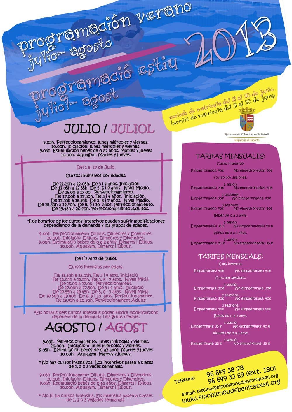 Cursos Verano Piscina Municipal Benitachell julio y agosto 2013