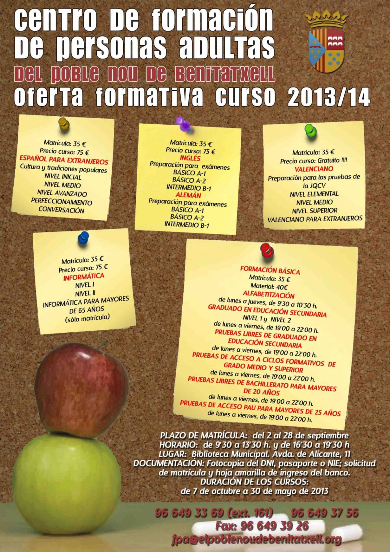 Centro de formación de personas adultas oferta formativa curso 2013-2014