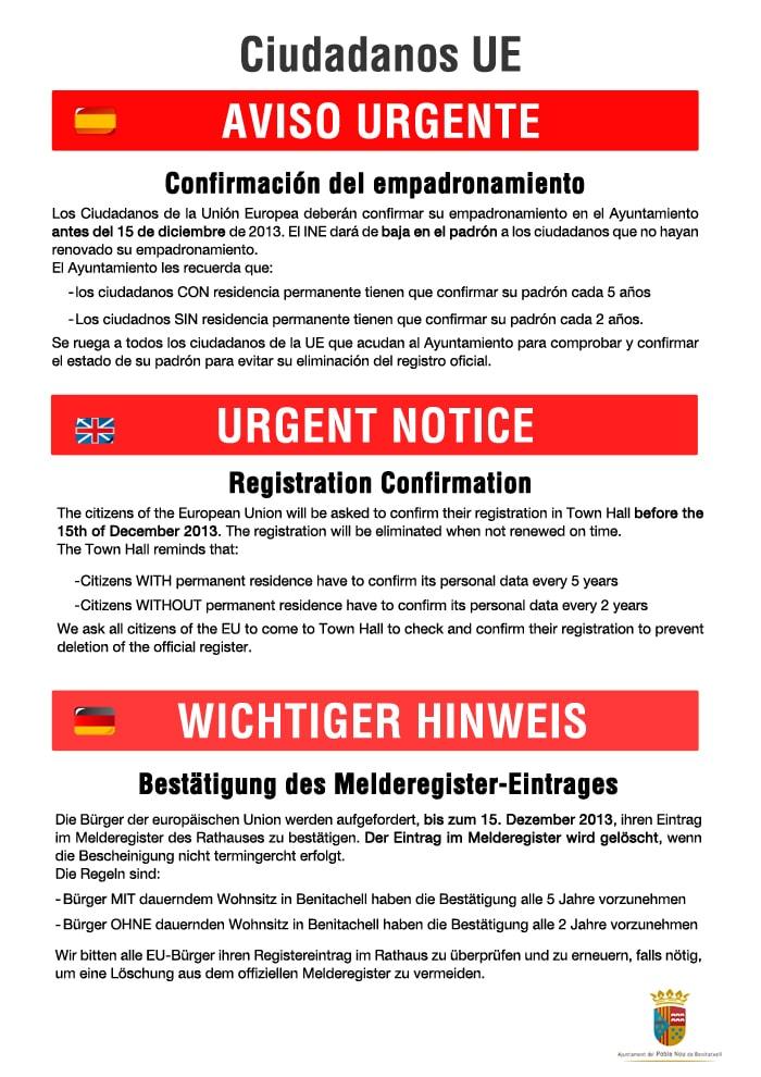 Confirmación del empadronamiento de ciudadanos de la UE antes del 15/12/13