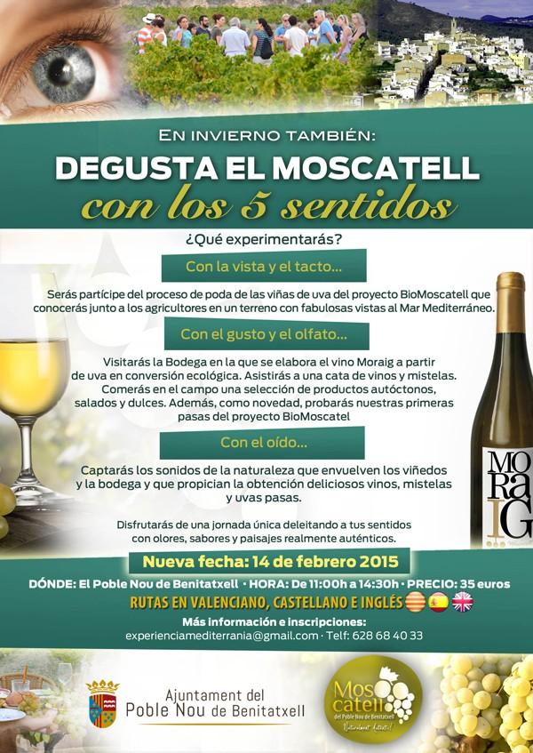 """Ruta en Benitachell """"Moscatell con los 5 Sentidos"""" el sábado 14 de febrero de 2015"""