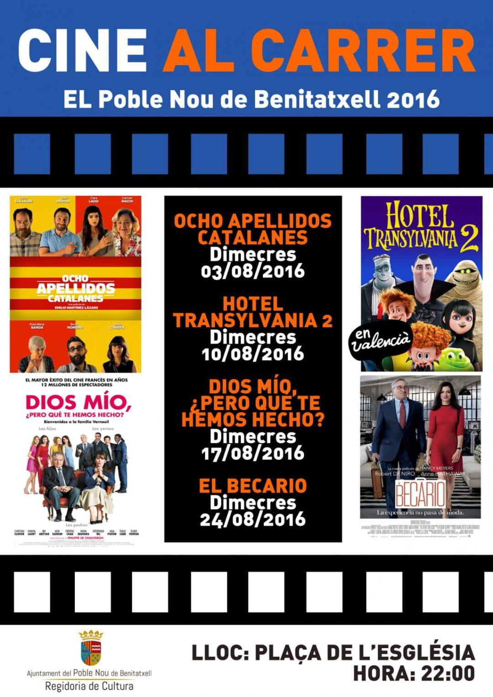 Cine de verano en Benitatxell-cartelera agosto 2016