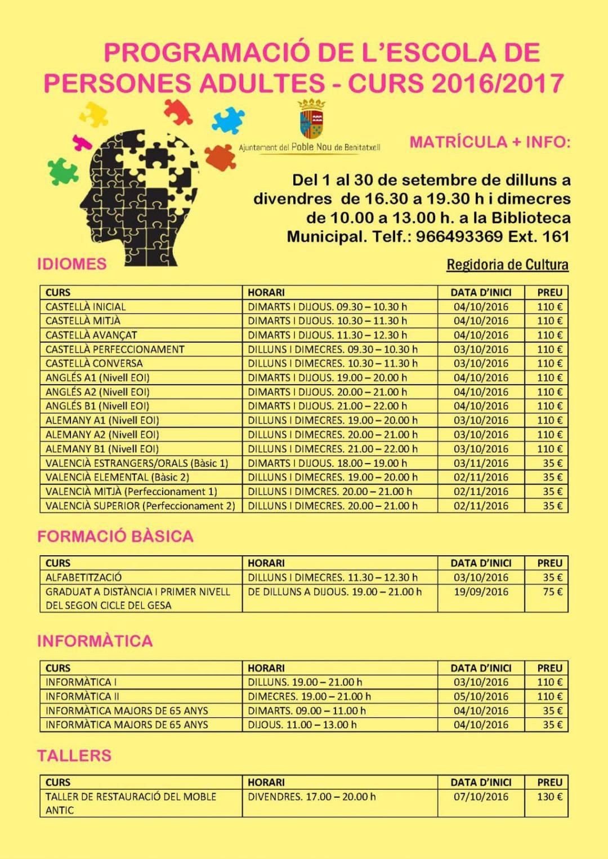 Cursos para personas adultas en Benitatxell-curso 2016-2017