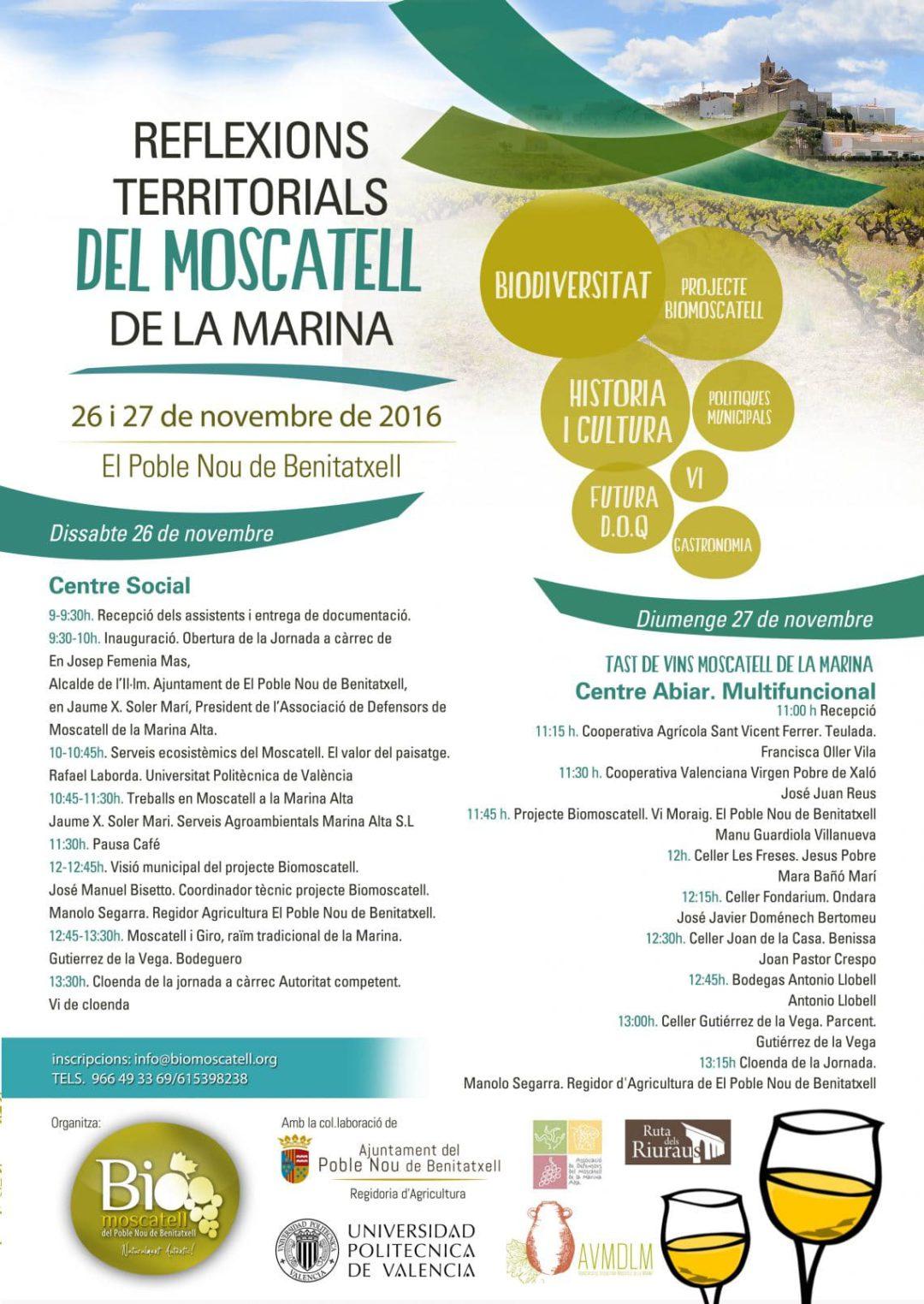 Jornadas «Reflexions Territorials del Moscatell de la Marina» en Benitachell