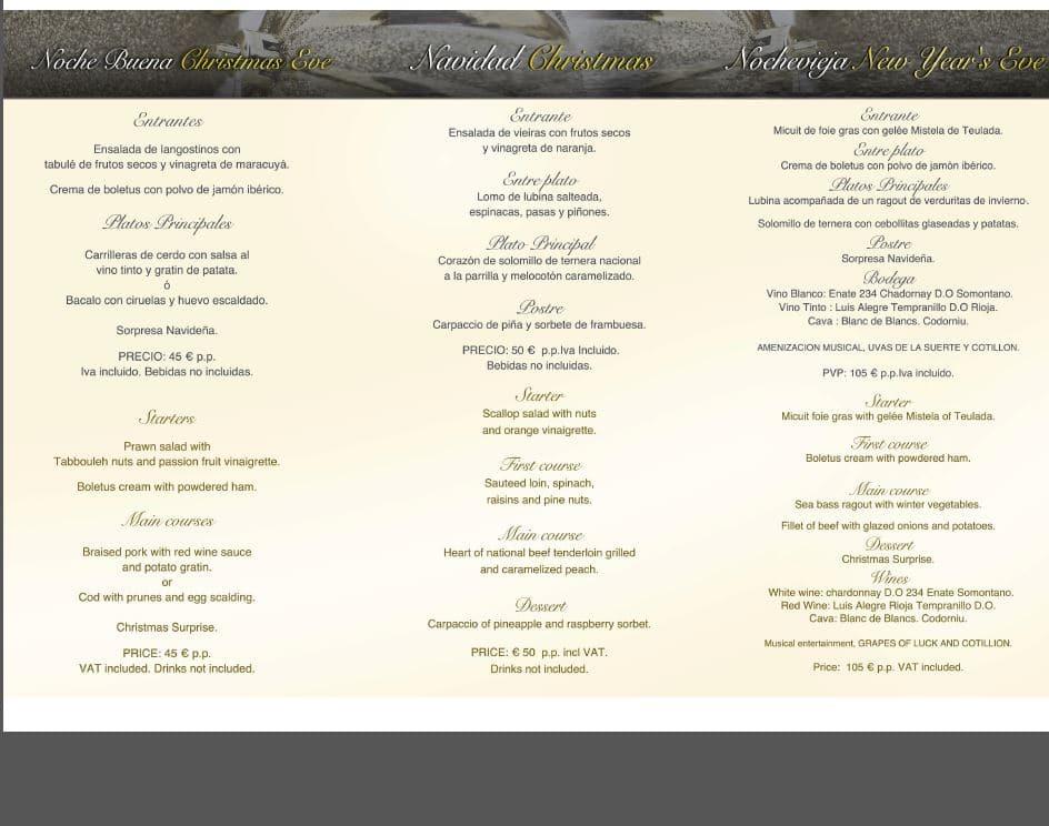 Menú de Nochebuena, Navidad y Nochevieja del Restaurante AL Punt del Swiss Hotel Moraira