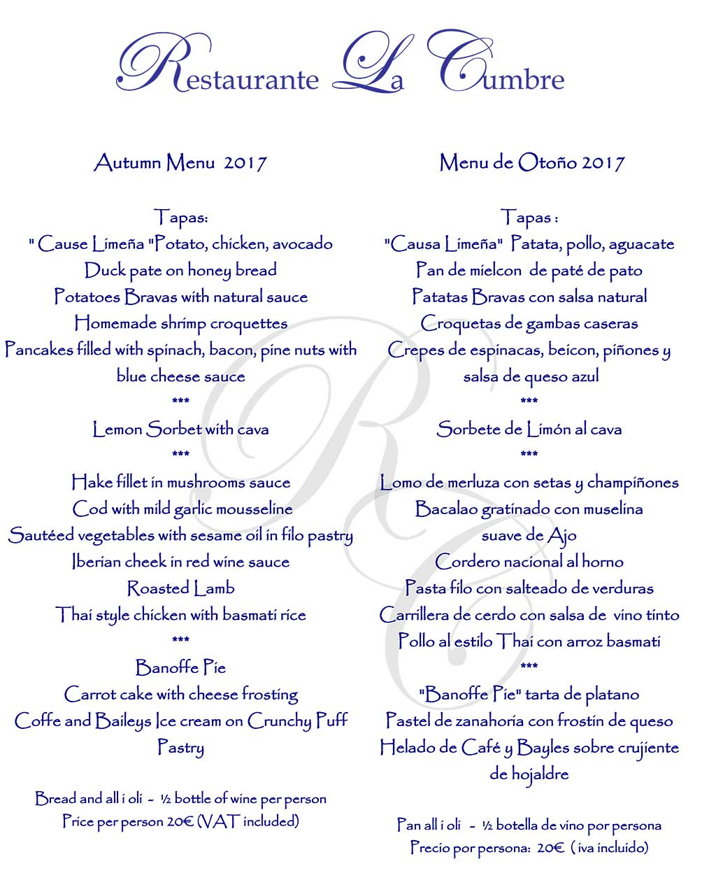 Autumn Menu at La Cumbre Restaurant